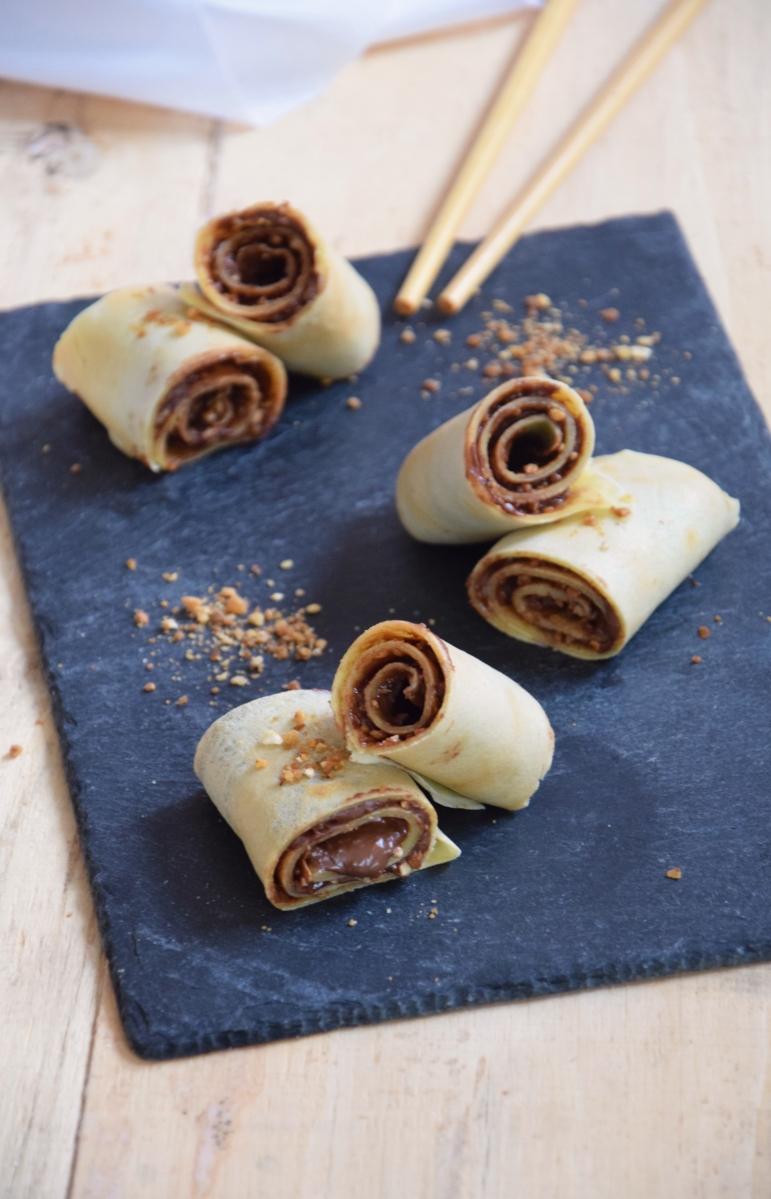 Crêpes roulées au chocolat & pralin façon rocher
