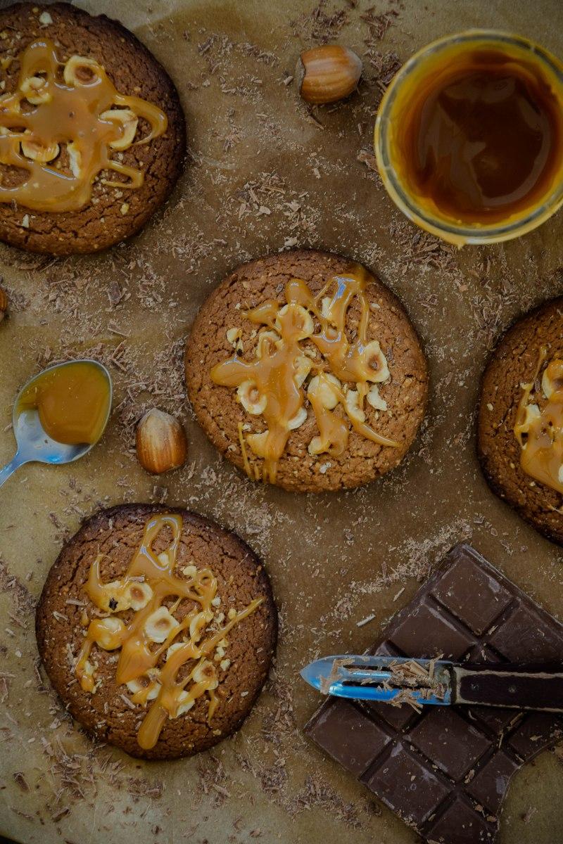 Cookies (allégés) au chocolat au lait, noisette & caramel