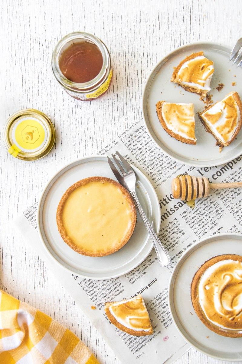 Tartelettes au miel et citron meringué